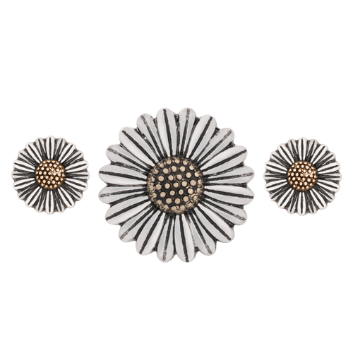 Silver Sunflower Statement Set